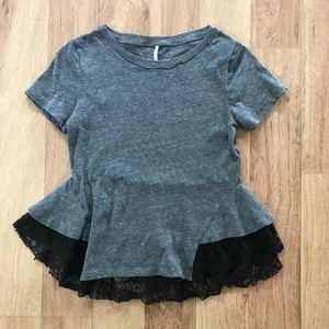 Free People Gray and Black Lace Hem Top XS